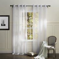 Wholesale Country Elegant White Solid Eco friendly Sheer Curtains Grommet Top With Custom Multi Size