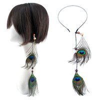 Wholesale 12 quot Peacock Blue Peacock Feather Hair Extension Cosplay Masquerade Medium Long Hair Wedding Party Ornaments Headdress
