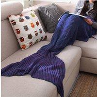 achat en gros de adulte couverture snuggie-Mermaid Blanket Tail Adulte Petite Sirène Blanket Knit 100% coton TV Canapé Blanket Snuggie Couvere, 80x190cm
