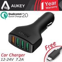 ai usb - AUKEY Usb Car Charger Quick Charge W A AI Power Adapter E Cigaretees for Apple HTC LG with Micro Cable CDCCCT4b