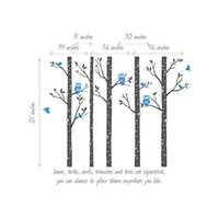 baby playgrounds - Huge Size Tree Wall stickers Playground Birch Forest With Owls And Birds Vinyl Wall Decal Baby Room Wall Decals Mural Art Decor