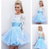 Wholesale Long Applique Panel Evening Gown - 2016 Cheap Short Prom Lace Dresses Sexy Backless Lace Applique Long Sleeve Blue A Line Evening Party Wear Gown Mini Dresses In Store