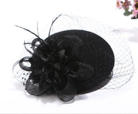 Wholesale Women Fashion Muti layer Floral Beret Caps Femal Hairband Clips Hat Woolen Flowral Hairpins Cocktail Bridal Hair Accessories