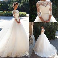 Wholesale 2017 New Wedding Dresses Milla Nova Lace Bateau Neck A line Half Sleeves Button Back Beaded Belt Appliques Garden Novia Bridal Gowns