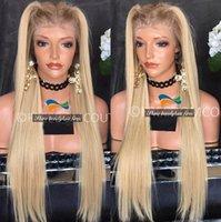 Precio de Cordón lleno recta superior de seda-Premium Virgen Remy Pelo Blonde Seda Top Glueless Full Lace Wigs 150% Density brasileño pelo rubio recto Lace Front pelucas con raíces oscuras