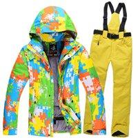 Wholesale outdoor men hiking jacket Ski Suit men Waterproof Snowboard Ski Jacket Pants Warm Breathable men warm loves