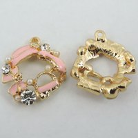 Cheap 20PCS Gold Alloy Enamel Created Diamond Fashion Flower Jewelry Accessories Necklace Pendant Charms 39326