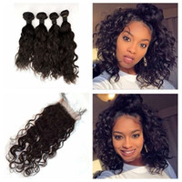 Wholesale 4 Bundles With Closure Peruvian Water Wave Hair Free Middle Three Part Lace Closure With Hair Weave