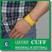 titanium necklaces  american softball - 2016 softball leather cuff or baseball leather cuff