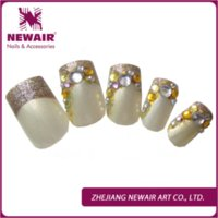 artificial nail product - 2015 new trendy beauty product bride shining rhinestones false nails tips pieces artificial pearls fake nail for cool lady