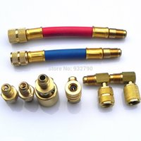 ac manifold gauges - Manifold Gauge Brass Adapter Connector Set AC Brass Air Conditioning Adapters A C Freon For R R134A R12 Vehicle Systems