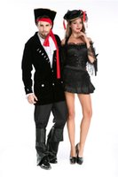 batik dress couple - Halloween Adult Men Women Couples Lovers Caribbean Pirate Costumes Uniform Fancy Dress Pirate Captain Jack Sparrow Costume Cosplay