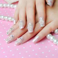 beautiful natural nails - BEAUTIFUL Nude Color Fake Nails Natural Decorated artificial False Nails Full Cover d Pearls Pink Nails Manicure Nail Tools Decals Lo