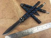 tactical knife - Theone Special edition BM42 butterfly knife Balisong C Black hanle with blue hole Handle Spring latch