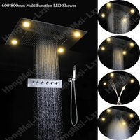 beautiful contemporary - Beautiful rainbow color changing multi function led lighted faucet luxury shower set rainfall waterfall water curtain misty