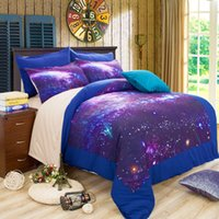 Wholesale 2016 New Galaxy D Bedding Sets Universe Outer Space Duvet cover Bed Sheet Fitted Bed Sheet pillowcase queen king bedding Sets