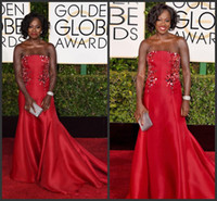 Wholesale Viola Davis nd Golden Globe Adwards Celebrity Dresses Strapless Red Satin Sequins Floor Length Backless Mermaid Evening Gowns