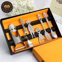 Wholesale Cartoon Smile Dinnerware Set Fork Spoon Teaspoon Set Stainless Steel Dinnerware Silver Cutlery Set Restaurant Gadget Cutlery