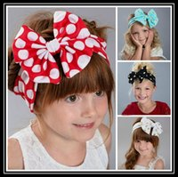 Headbands mixed nature 2016 hot!!! Baby Girls Bowknot Big Bow Hairband Soft Headband Kids Dot Turban Stretch Knot Head Wrap Headwear Hair Band Accessories