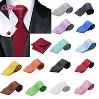 Wholesale Mens Gentlemen Jacquard woven Silk Necktie Cufflinks Square Hanky Set Formal Tuxedo Prom Wedding Decoration Clothes Accessories