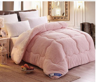 Wholesale Sheep fleence sanding wool winter quilts wool comforter white pink brown