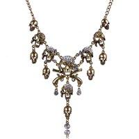 alloy department - 2016 New Biker Punk Skull Necklaces Pendants Department Statement Collares Necklace Vintage Pirate Skeleton Retro Jewelry