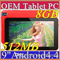 Gratuit 9 pouces Quad Core Android 4.4 Tablet PC Actions double caméra écran 512MB 8GB tactile capacitif Allwinner A33 1.2GHz WIFI 9