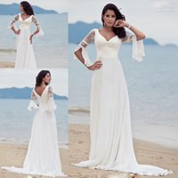 beautiful skirts - new arrival beautiful ivory a line v neck lace wedding guest dress with bishop sleeves HS166