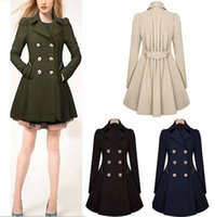 Wholesale Women Trench Coat Korean Plus Size Slim Double Breasted Trench Coats Women Winter Outwear Clothing Black khaki green S XXXXL