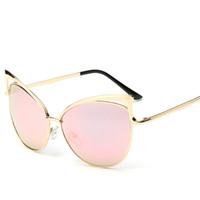 al por mayor anteojos desinger-Nuevas lentes de cristal de Cateye de las gafas de sol de las mujeres de la manera de Desinger de la marca de fábrica para las cortinas de oro femeninas del ojo de gato de los vidrios de Sun del capítulo liberan el envío