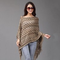 Wholesale 2016 New Fashion Patterned Knitted Pullover Poncho shawls scarf female Loose spring autumn Women Sweater with Tassels Plus Size