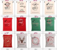 Wholesale 2017 new popular Christmas Large Canvas Bags Santa Claus Drawstring Bags With Reindeers cotton Christmas Gift Sack