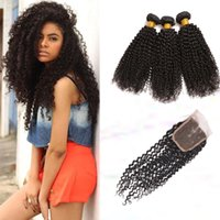 afro curly weave - 7A Afro kinky Curly Human Hair lace Closure With Bundles Kinky Curly Human Hair Weave ot Curly Human Hair With Closure