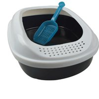 Wholesale High Quality Semi enclosed Pet Cat Litter Box Cat Toilet Pots with Shovel