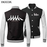 beatles baseball - Fall New Fashion Warm Winter Cool Mens Coats Hip Hop The Beatles Rock Band Sweatshirts Baseball Bomber Jacket Men XL