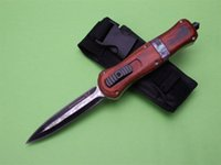 Wholesale Benchmade A019 D2 Blade HRC Red wooden Zinc alloy handle single straight play Kinfe survival outdoor