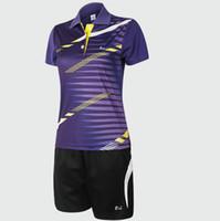 Wholesale Designer badminton sets Striped shirt Woman short sportwear Hot sale tennis training clothing Run sport wear