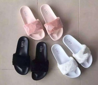Wholesale Brand New Rihanna Fenty Leadcat Fur Slides Pink Black White Red Grey Slide Indoor Sandals Womens Slippers retail