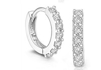 Wholesale 2016 New Style High Quality Pair Beautiful Silvering Rhinestones Hoop Stud Earrings Sterling Silver Decorations For Women