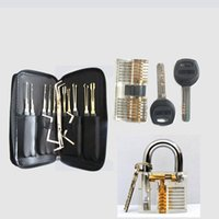 auto door lock cylinder - One Transparent Padlock One Kaba Cylinder Two Side Padlock Hook AUTO KABA DOOR Lock Pick Set Door Key Pick Set Locksmith TOOLS