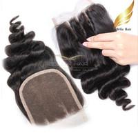 al por mayor medio pelo virginal marrón-Loose Wave 100% Virgen Peruvian Hair 3 Parte Lace Closures 4x4 Color Natural 8-26 Pulgadas Medio Color Marrón Encaje Bellahair