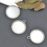 Wholesale Vintage tibetan silver round charms cabochon mm metal pendants fit diy necklace jewelry sentting