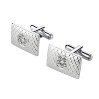 Wholesale New Brand Man s Cuff links for wedding and Party Silver Plated With Crystal Patterned Design Men s Accessories Statement