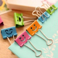 Wholesale 48pcs Smile Metal Binder Clips For Notes Letter Paper Books Home Office School mm mm Stationery Clip Material Escolar