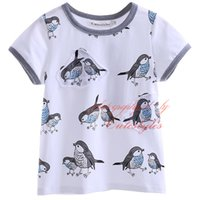 Wholesale New Arrival Cutestyles Print T Shirt For Boys Fashion Little Birds Pattern Tops O Neck Collar Short Sleeves Kids Wear BT90413 L