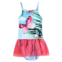 Wholesale Girls swimwear swimsuit one piece swimsuit Pattern bow knot Cute girl swimsuit There are patterns of girls Siamese swimsuit Yarn skirt