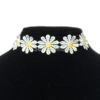 beautiful chokers - Yellow White Fashion Daisy Flower Choker Chain Necklace Bracelet Headband Boho Beautiful Tattoo Choker Necklace