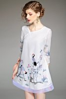 Wholesale Chinese wind restoring ancient ways show thin silk linen dress ink printing qipao art two suits the new spring and summer dress tide