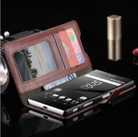 aqua pouches - Sony Z L36H Z1 Z2 Z3 Z4 Z5 Luxury Crazy Horse Purse Style Leather Wallet Case Premium Protective Back Cover Shell for Sony Xperia M2 M4 Aqua