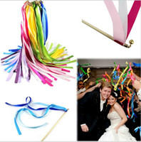 bell garland - Wedding Supplies Pieces Multicolor Wedding Confetti Twirling Stream Ribbon Sticks Wands with Bell Garland Party Favor Supplies